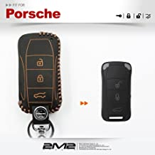 2M2 Leather Keyfob Holder Case Chain Cover FIT For PORSCHE 911 carrera s targa CAYENNE (011)