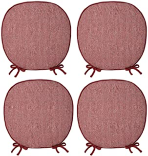 JEMA ジェマ 椅子 クッション シートクッション 座布団 チェア用 ヘリンボーン柄 4枚セット 椅子用 馬蹄型 ひも付き 食卓テーブル ダイニング 四季通用 43x41cm 英国スタイル エンジ