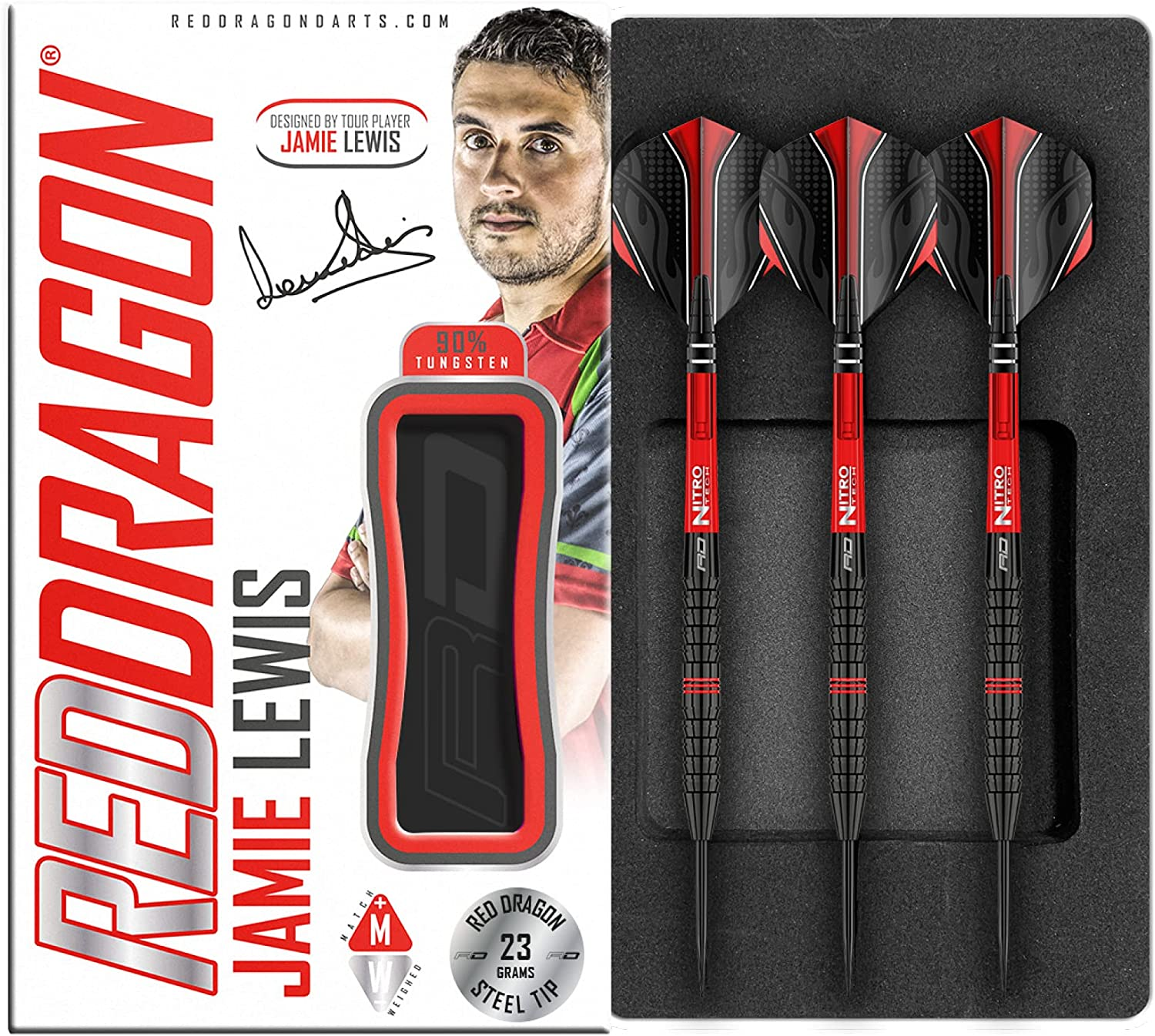 RED DRAGON Jamie Lewis 23g or 25g Tungsten Darts with Set Flight 2021 Rapid rise model