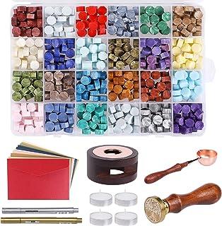 Lot de 600 perles de cire à cacheter pour sceau de cire, perles hexagonales avec 10 enveloppes, 1 four, 1 cuillère à cire,...