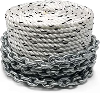 Five Oceans Windlass Anchor Rode Nylon Three Strand 5/8inch x 200ft with Galvanized 3/8inch x 20ft HT G4 Chain, Prespliced FO-4289