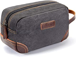 Men's Toiletry Bag Leather and Canvas Travel Toiletry Bag Dopp Kit for Men Shaving Bag for Travel Accessories (Gray)