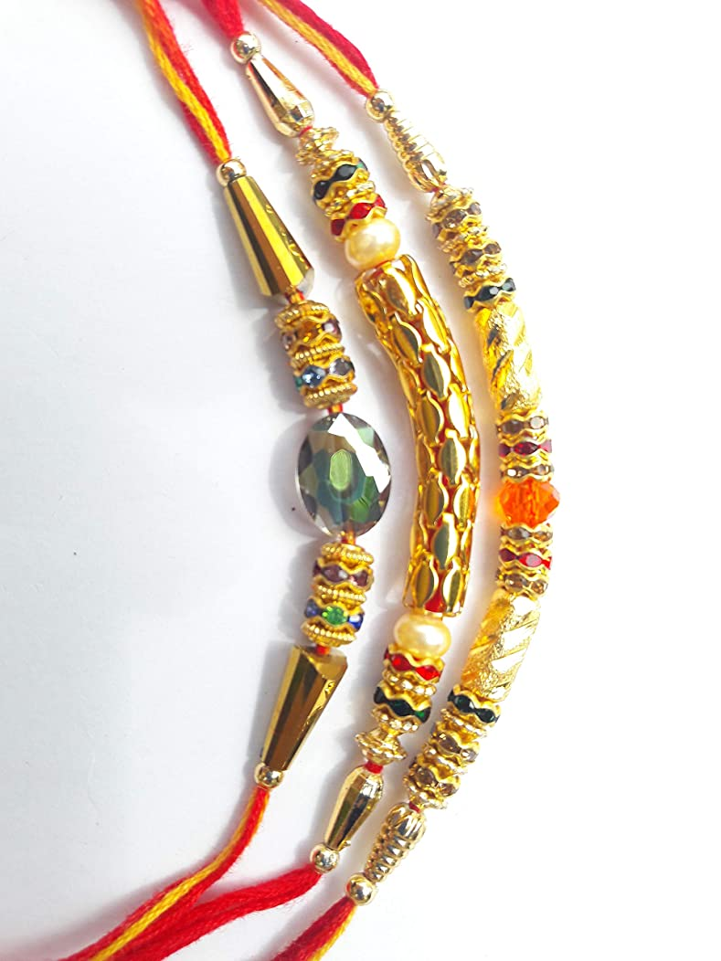 Rakhi Bracelet 3 Unique Beautiful Design, Golden Diamond,Pearl &Beads - Thread Raksha bandhan Rakhi Gift for Your Brother, Bracelet Gift Wrist Bands for Loving Brother Sister & Father - Set of 3