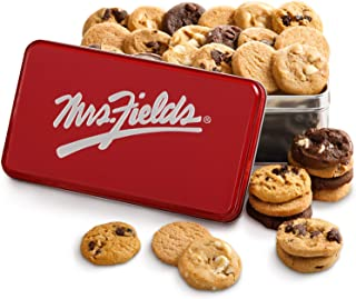 Mrs. Fields Signature Nibbler-Bite Size Cookies Tin (30 Count) Includes 5 Different Flavors - Perfect Gift for any Holiday or Occasion