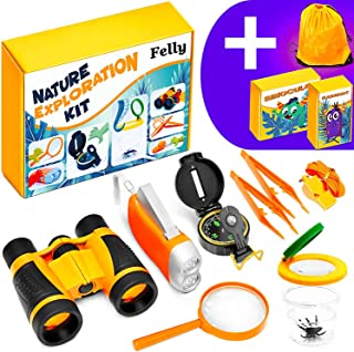 Felly Juguetes de exploración, 10 Piezas Kit de Binoculares para Niños, Juegos niños 4 5 6 7 8 9 años Educativos Regalo de Cumpleaños para Niños con Mochila Brújula Binoculars