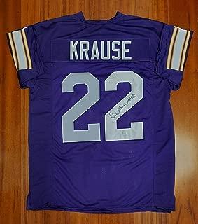 Paul Krause Autographed Signed Jersey Minnesota Vikings JSA