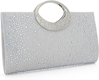 Dexmay Shiny Evening Bag for Wedding Party Elegant Crystal Rhinestone Clutch Purse