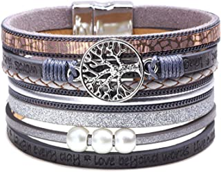 Leather Cuff Bracelets for Women Teenagers Girls Multi Strands Wrap Bangle Jewelry Birthday Gift (Gray)