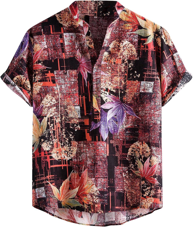 FUNEY Short Sleeve Button Up Shirts for Men Floral Hawaiian Shirts Casual Summer Beach Lapel Pullover Shirt Tops Poplin Shirt