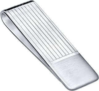 Sterling Silver .925 Money Clip, Hand Polished, Elegant Stripe Design, Engravable. Designed and Made in Italy. Weight is Approx 16.9 Grams, Measurements 2