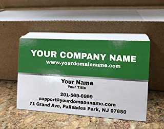 Custom Premium Business Cards 500 pcs Full color - Half Green (129 lbs. 350gsm-Thick paper), UV coating-Front, Matte finishing-Back, Offset Printing, Made in The USA (Green)
