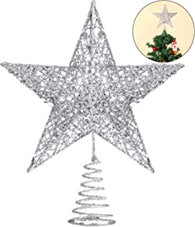 Blulu 10 Inches Christmas Tree Star Topper Xmas Tree Topper Star Christmas Decoration Glittered Tree-top Star (Silver)