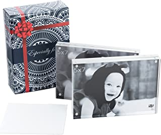 Acrylic Picture Frames 5x7 - Double Sided Magnetic Picture Frame, Floating Acrylic Photo Frame Set For Home Office Or Cubicle Decor, In A Gift Box (Pack Of 2)