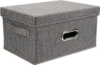 Onlyup Boîte de rangement pliable en toile de lin avec couvercle pour penderie, vêtements, livres, jouets cosmétiques (gri...