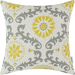 CaliTime Canvas Throw Pillow Cover Case for Couch Sofa Home Decoration Three-Tone Dahlia Floral Compass Geometric 18 X 18 Inches Yellow/Gray