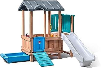 Step2 Woodland Adventure Playhouse & Slide | Kids Wooden Playset with Slide, Brown