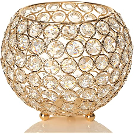 VINCIGANT Gold Crystal Bowl Candle Holder for Coffee Table Mantle Decor ,Living Room or Dining Table Decorative Vases Centerpiece