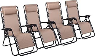 Naomi Home Zero Gravity Lounge Patio Outdoor Recliner Chairs Cream/Set of 4