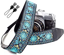 Blue Woven Vintage Camera Strap Belt For All DSLR Camera. Embroidered Elegant Universal DSLR Strap, Floral Pattern Neck Shoulder Camera Strap for Canon, Nikon,Pentax, Sony, Fujifilm and Digital Camera