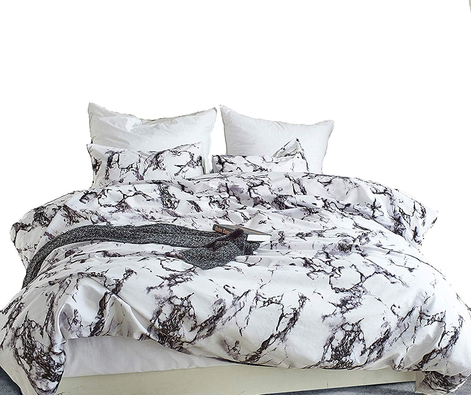 DuShow Floral Duvet Cover Set Queen Boho Bedding Sets Microfiber 3 Pieces Comforter Cover Set 1 Duvet Cover and 1 Pillowcase with Zipper Closure Marble