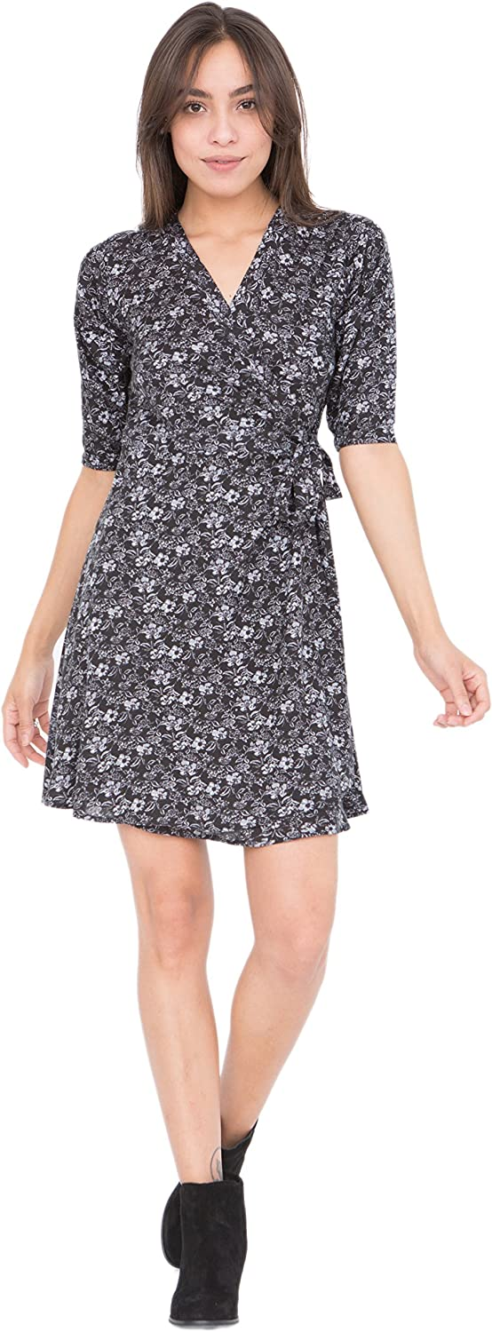 VNeck Wrap Dress with 3 4 Sleeves in Florals Print