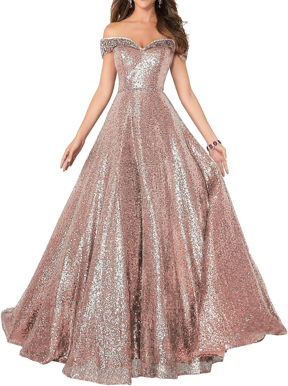 Formaldresses Off Shoulder Sequins Prom Dresses Long for Women Formal  Evening Dress Plus Size Red Black Rose Gold
