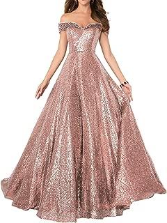 Off Prom Dress Sequin Empire Waist Evening Gown Long Costume