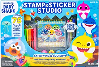 Baby Shark Stamp & Sticker by Horizon Group USA Includes Colored Markers, Sticker Sheets, Puffy Stickers, Self-Ink Stampers, Liquid Filled Activity Book Glitter Glue & More