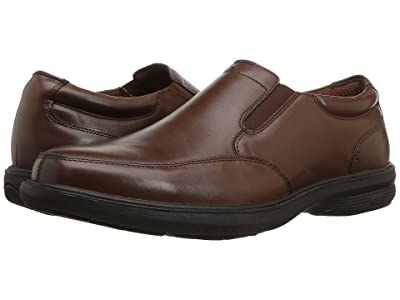 Nunn Bush Myles Street Moc Toe Slip-On with KORE Slip Resistant Walking Comfort Technology (Brown) Men