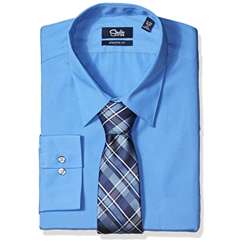 8f25ad9760 Studio 1735 Mens Dress Shirts and Tie Combo Plaid Tie Athletic Fit