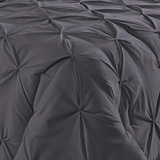 Bedding Kraft Soft Reliable Luxurious Pinch Pleated Duvet Cover 100% Egyptian Cotton 800 TC Stain Resistant & Hypoallergenic Comforter Cover (Oversized King (98 x 120 Inch) (3-Piece), Elephant Grey)