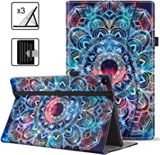VORI Case for Kindle Fire HD 10 Tablet(9th/7th Generation, 2019/2017 Release), Leather Smart Folio Cover with Hand Strap, Pocket and Auto Wake/Sleep for Kindle Fire 10.1 inch, Mandalas