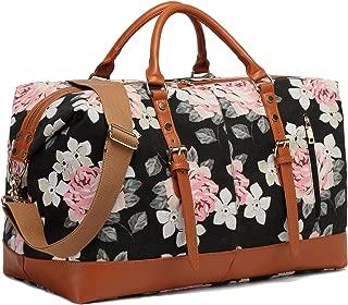 CAMTOP Weekend Travel Bag Ladies Women Duffle Tote Bags PU Leather Trim Canvas Overnight Bag (Flower)