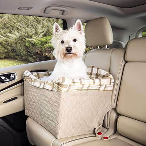 PetSafe Happy Ride Quilted Dog Safety Seat - Pet Booster Seat for Cars, Trucks and SUVs - Included Seat Belt Tether -...