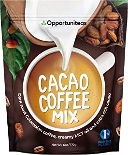 Cacao Coffee Mix - Dark Roast Colombian Coffee + Extra Rich Raw Cacao + Creamy MCT Oil Powder - Sugar Free Instant Mocha L...