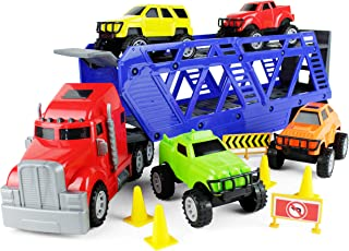 Boley 5-in-1 Big Rig Hauler Truck Carrier Toy Complete Trailer with Construction Toy Signs and Monster Jam Trucks Great Toy for Boys, Girls Who Like Vehicle Playsets, Toy Trucks, and Toy Cars !