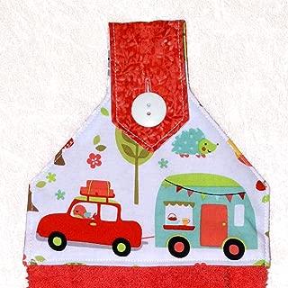 RV Camping Decor - Hanging Hand Towel - Coral Red Orange Plush Towel - Retro Camping Trailer Print