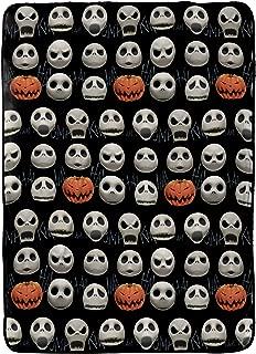 Jay Franco Disney Nightmare Before Christmas Skull Smile Blanket - Measures 60 x 90 inches, Kids Bedding Features Jack Skellington - Fade Resistant Super Soft Fleece - (Official Disney Product)