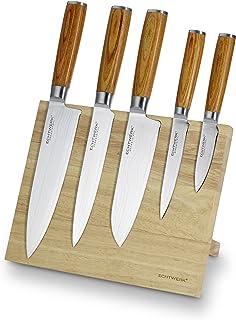 ECHTWERK Bloque magnéticos, Juego de Cuchillos de Damasco de Acero Inoxidable, 22 x 13 x 36cm, Stainless Steel, Plata, 21,5 x 12,5 x 35,7 cm