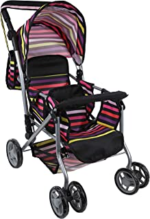 Mommy & Me TWIN Doll Pram Back to Back with Swivelling Wheels & Free Carriage Bag - 9668