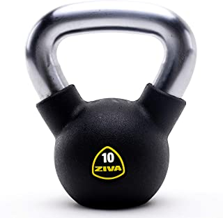 ZIVA Premium Virgin Rubber Solid Cast Steel Kettlebell Weight - Multiple Sizes 5 to 50 lbs - Odorless Design, Ergonomic Comfort Grip - Core and Strength Training Exercise Workout