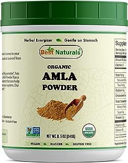 Best Naturals Certified Organic Amla Powder 8 OZ (240 Gram), Non-GMO Project Verified & USDA Certified Organic
