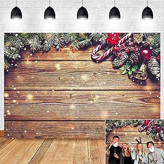 2,7 x 1,8 m Vinyl Weihnachten Zuckerstange Glocken Fotografie Hintergrund Familie Fotoautomaten Studio Requisiten Holzbrett Bokeh Schnee Winter Foto Hintergrund für Urlaub Party Banner Supplies