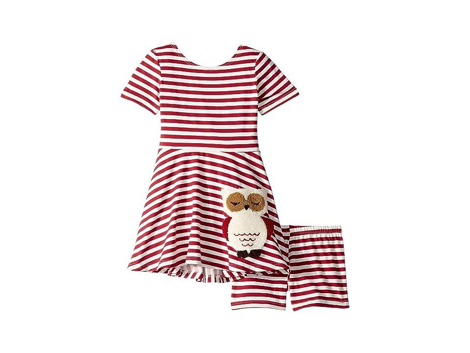 fiveloaves twofish Owl Play Skater Dress (Toddler/Little Kids) (Burgundy) Girl