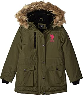 US Polo Association Girls' Parka Jacket with Faux Fur Hood