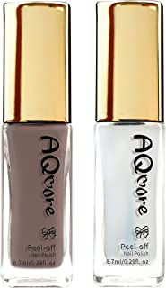 AQMORE Premium Water Based Nail Polish - Pure Minerals, Ultra Long Lasting, Easy Peel Off, Fast Drying, Gel Manicures Like, Non Toxic, Lab Tested (Macchiato & Top Coat Set)