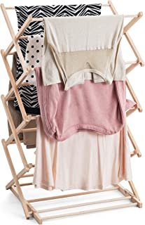 Bartnelli Hanging Laundry Clothes Drying Rack - Preassembled and Collapsible Drying Stand- 100% Natural European Beech Wood