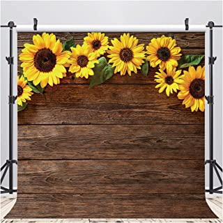 AIIKES 8x8FT Sunflower Brown Wood Backdrops for Photography Rustic Child Baby Shower Birthday Party Background Wedding Sunflowers Banner for Picture Photo Studio Photo Booth Decoration 11-544