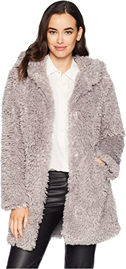 Light Sherpa Fur Chic Hoodie Jacket with Heather Knit Lining