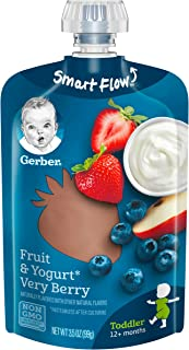 Gerber Purees Very Berry Yogurt Toddler Pouch 3.5 OZ (Pack of 12)
